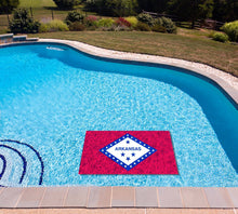 Load image into Gallery viewer, Arkansas State Flag poolmat in water