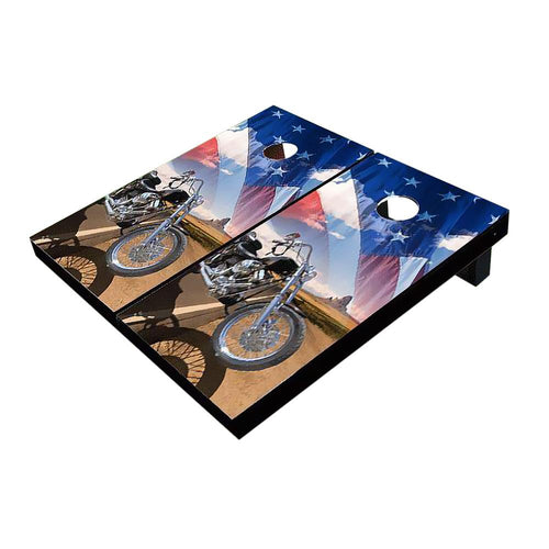 Motorcycle Desert and American Flag Cornhole Boards