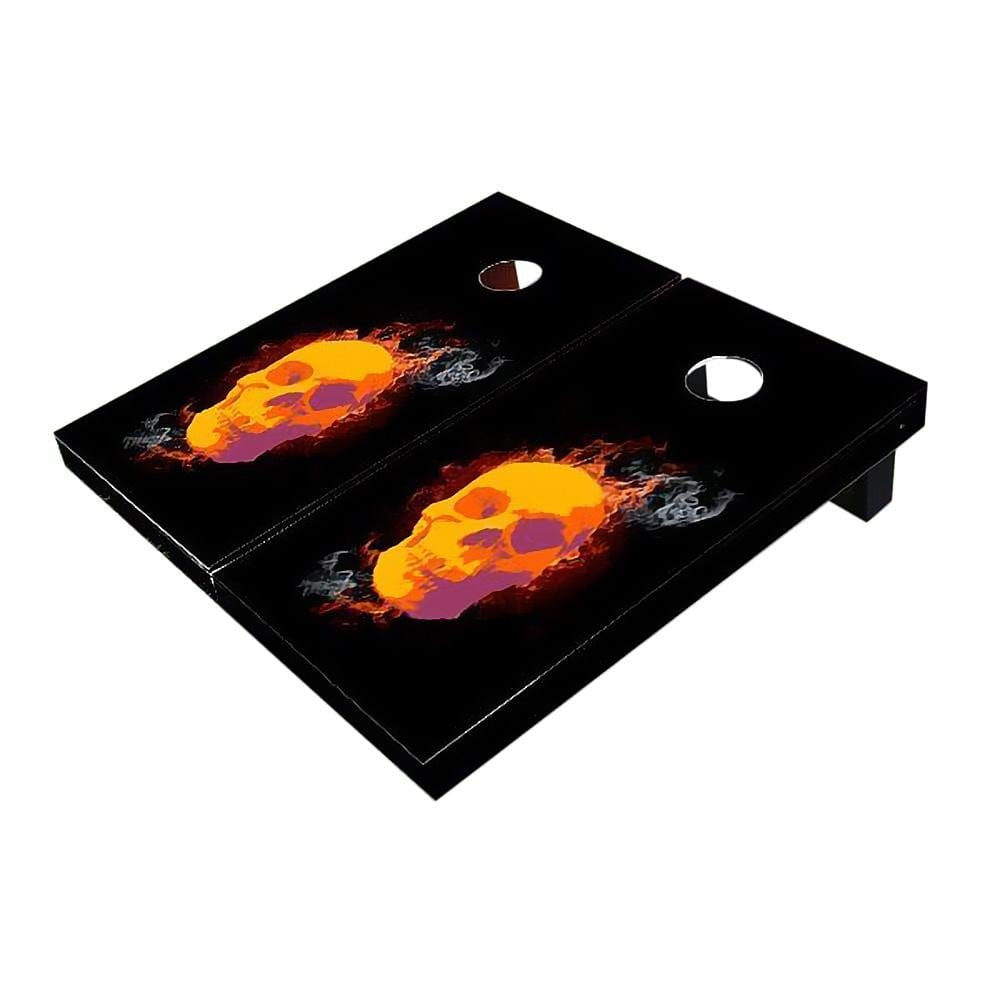 Skull with Flames Cornhole Boards