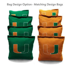 Load image into Gallery viewer, Miami Orange And Greene team logo cornhole