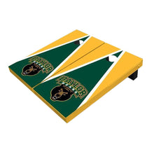 Load image into Gallery viewer, Baylor Bear Head Hunter Green And Yellow Triangle Cornhole Boards