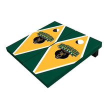 Load image into Gallery viewer, Baylor Bear Head Yellow And Hunter Green Diamond Cornhole Boards