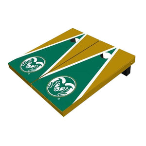 Colorado State Rams Logo Green And Gold Triangle Cornhole Boards