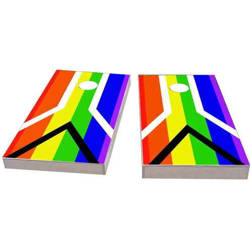 Gay Pride Rainbow Flag with Peace Sign Cornhole Boards