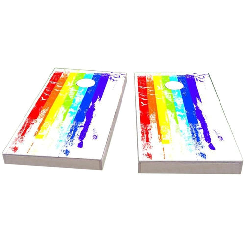 Gay Pride Rainbow Paint with Birds Cornhole Boards