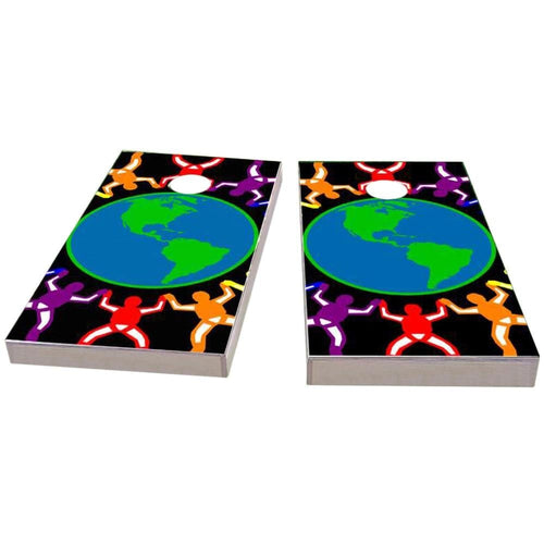 Gay Pride Rainbow People Around the Earth Cornhole Boards