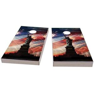 American Flag, Fireworks & Lady Liberty Cornhole Boards