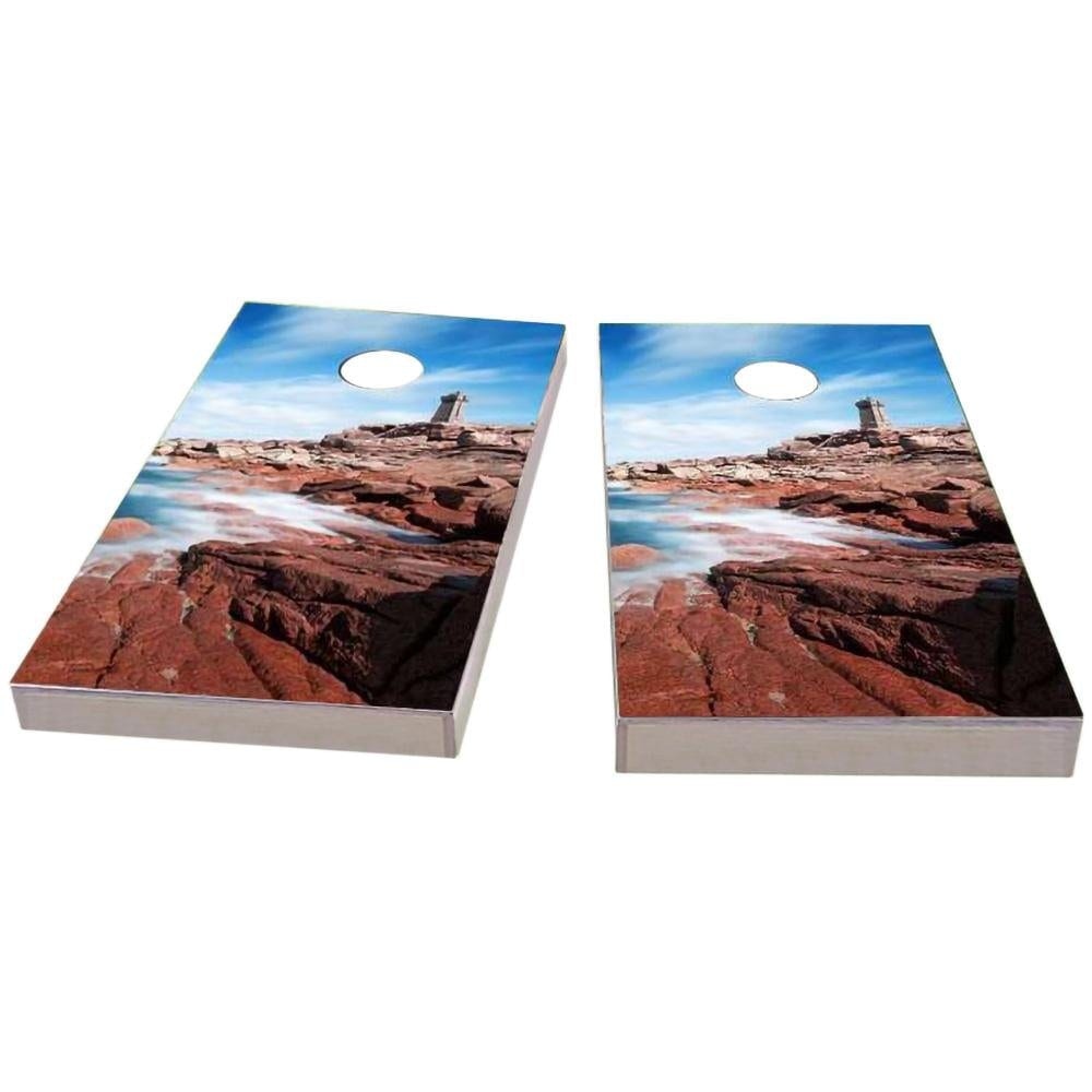 Lighthouse by the Sea Cornhole Boards