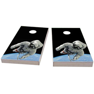 Astronaut Floating Above Earth Cornhole Boards