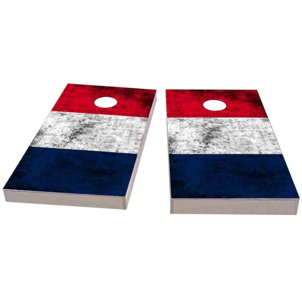 France Worn Flag Cornhole Boards