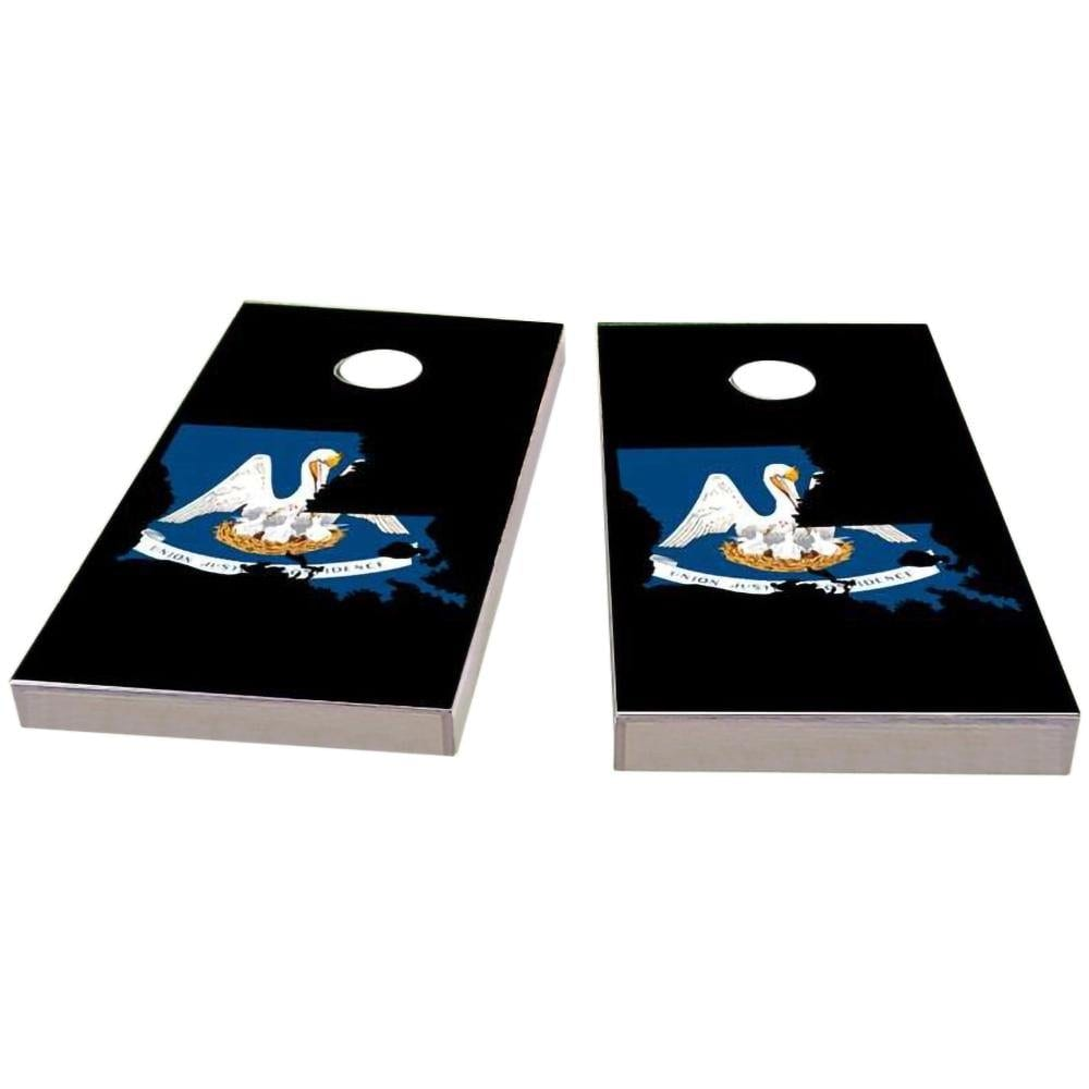 Louisiana Outline (Black) Cornhole Boards