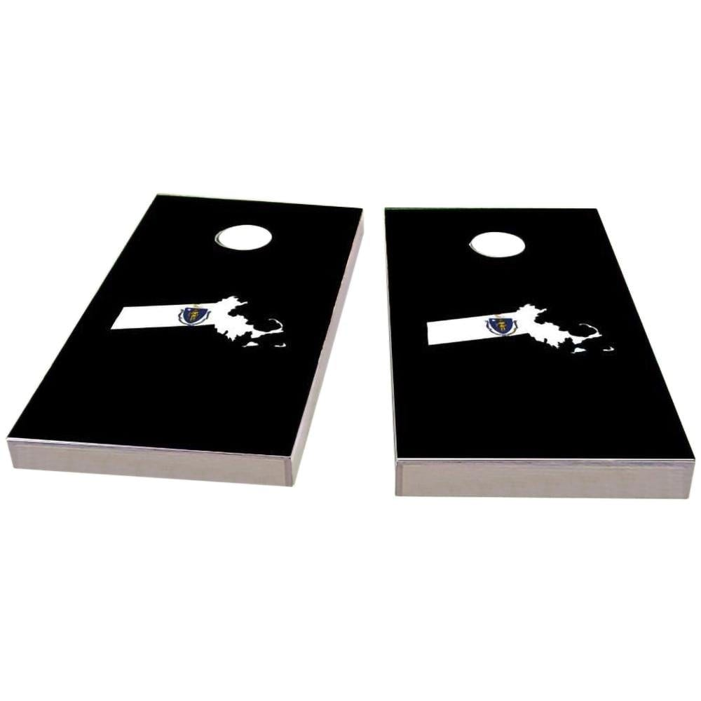 MassachuBoardsts Outline (Black) Cornhole Boards