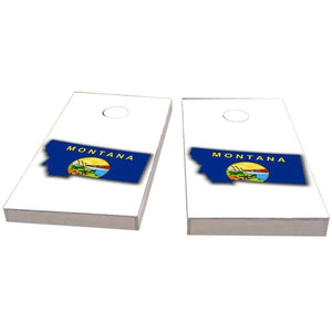 Montana Outline (White) Cornhole Boards