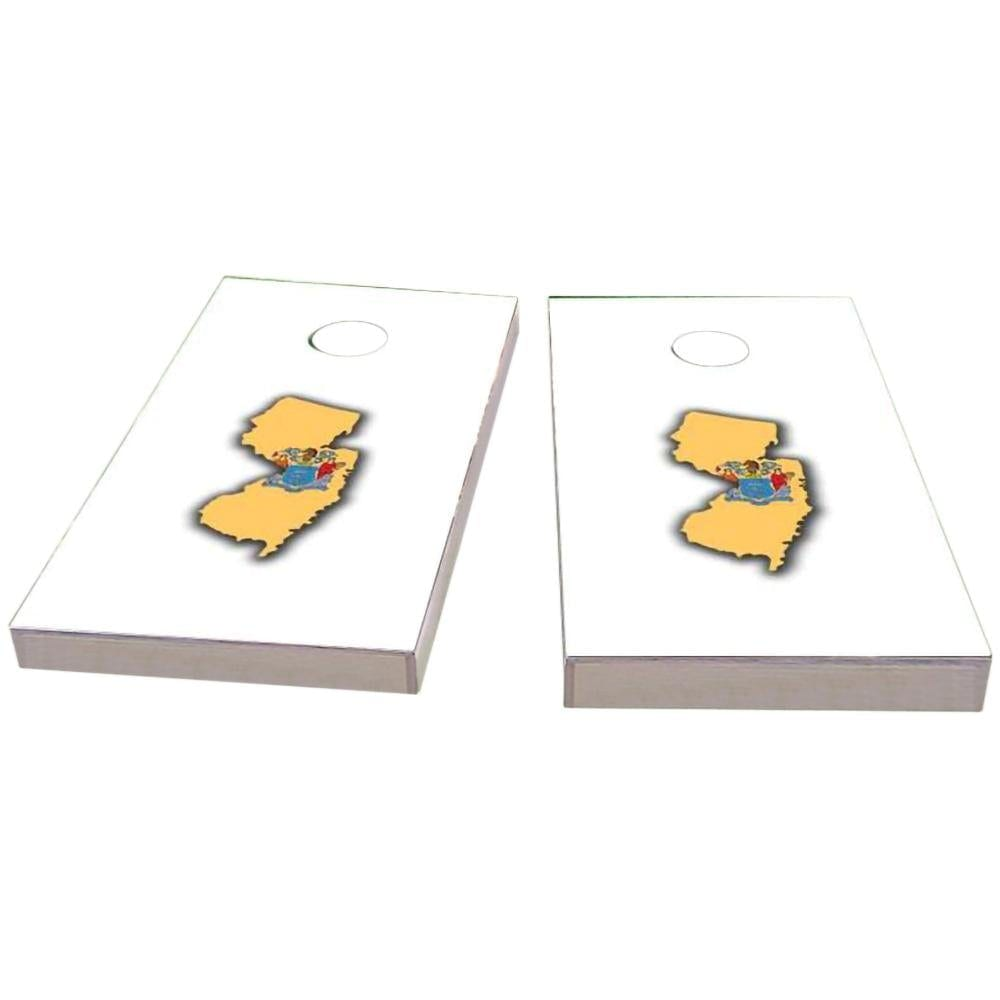 New Jersey Outline (White) Cornhole Boards