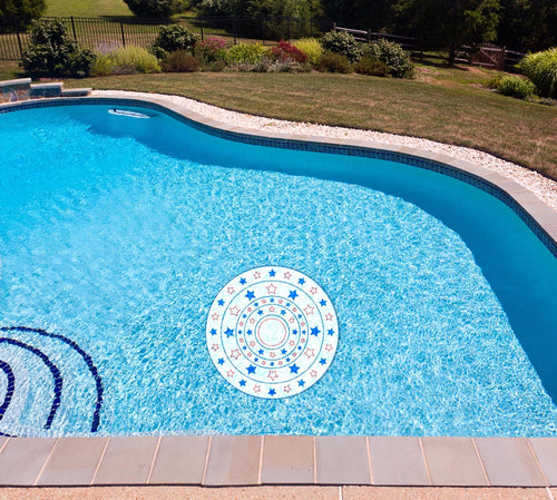 Stars & Stripes Circle Poolmat in water