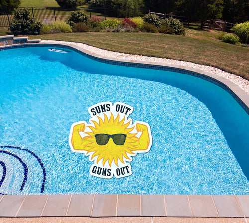 Suns Out Guns Out Poolmat in water