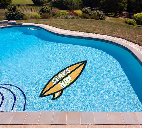 Surfs Up (Orange) Poolmat in water