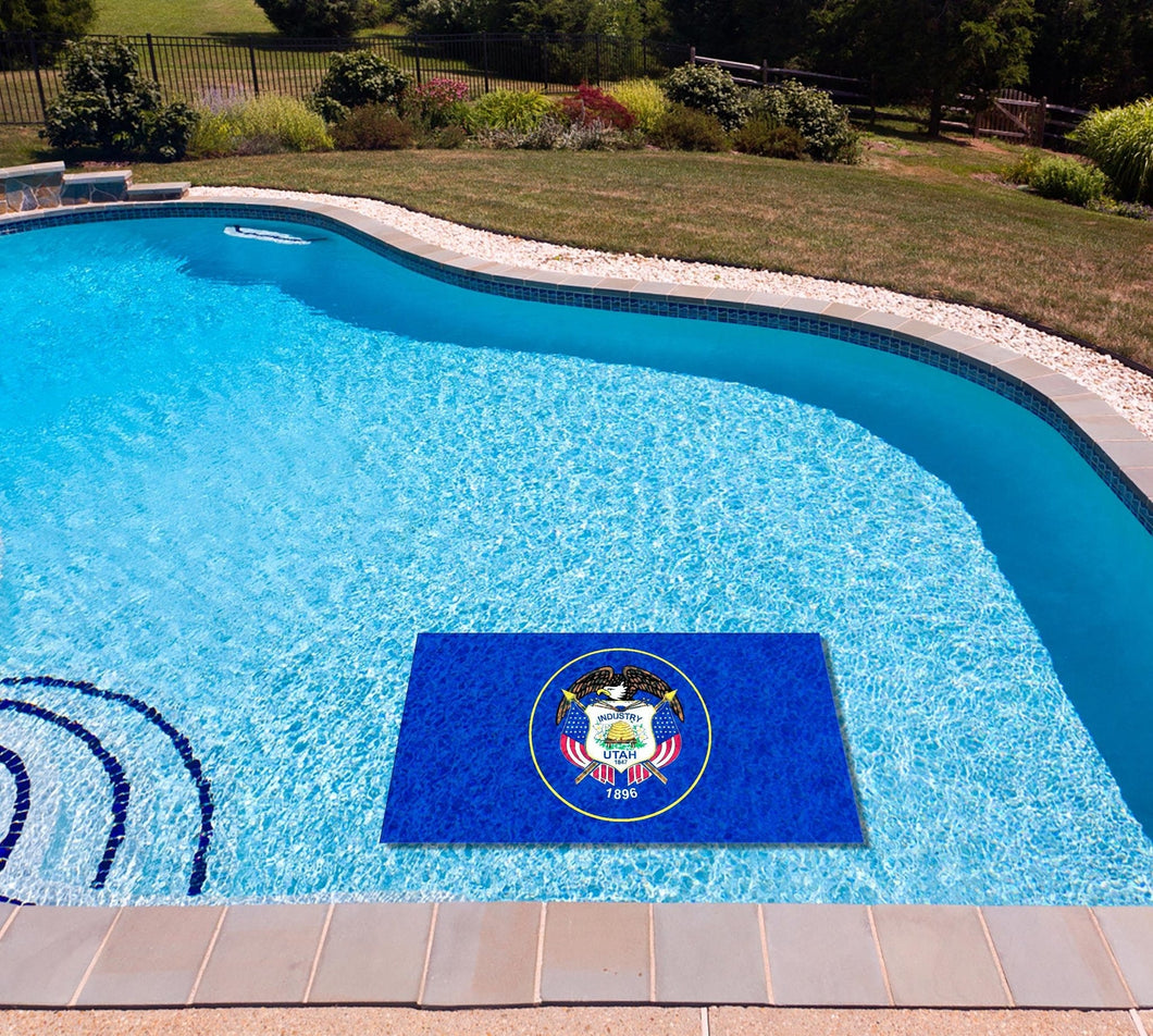 Utah State Flag poolmat in water