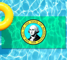 Load image into Gallery viewer, Washington State Flag poolmat from above