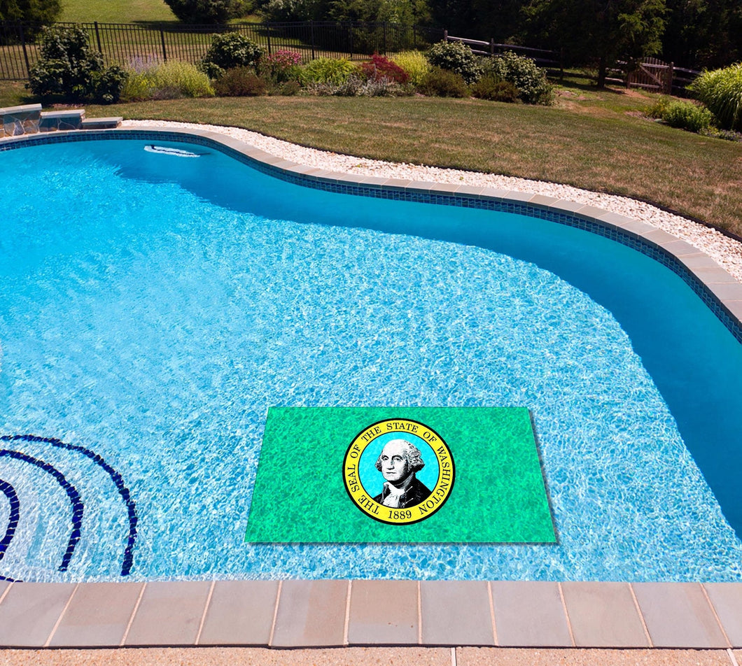 Washington State Flag poolmat in water