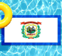 Load image into Gallery viewer, West Viginia State Flag poolmat from above