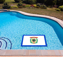 Load image into Gallery viewer, West Viginia State Flag poolmat in water