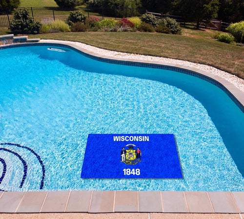 Wisconsin State Flag poolmat in water