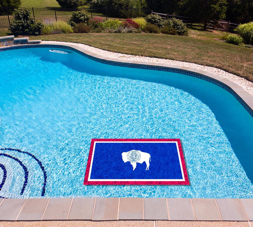 Wyoming State Flag poolmat in water
