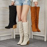 kovogue Distressed Faux Suede Long Boots
