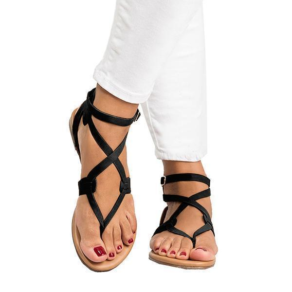 kovogue Women's Criss Cross Wrap Ankle Strap Beach Sandals
