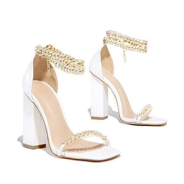 Kovogue Gold-Tone Chain Embellished Ankle Strap Chunky Heels