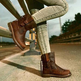 kovogue Fashion Mid-calf Low Heel Brown Boots
