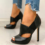 kovogue Solid Hollow Out Design Peep Toe Thin Heels