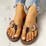 kovogue Flower Design Flat Sandals