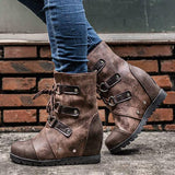 kovogue Fashion Wedge Heel Lace-up Ankle Boots