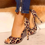 kovogue Leopard Suede Thin Heeled Heels
