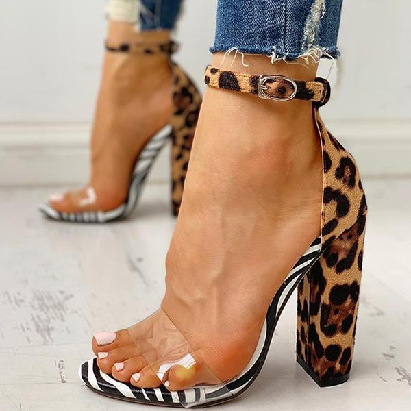 kovogue Leopard Transparent Chunky Heels
