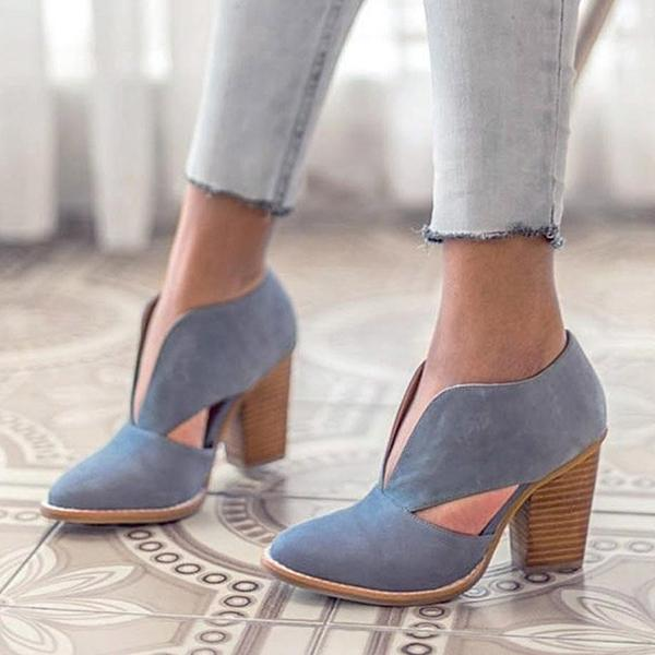 kovogue Round Toe Women Chunky Heel Casual Pu Ankle Boots