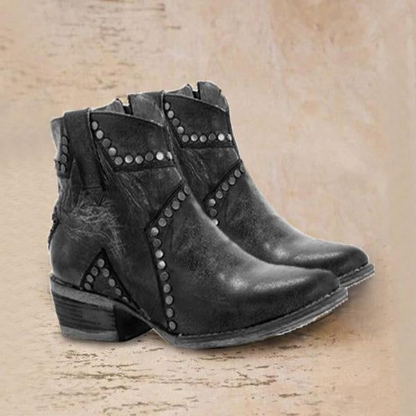 kovogue Vintage Zipper Boots Fashion Block Heel Boots