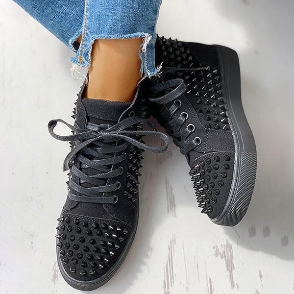 kovogue Solid Studded Eyelet Lace-Up Casual Sneakers