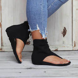 kovogue Hollow out Back Zipper Flat Booties