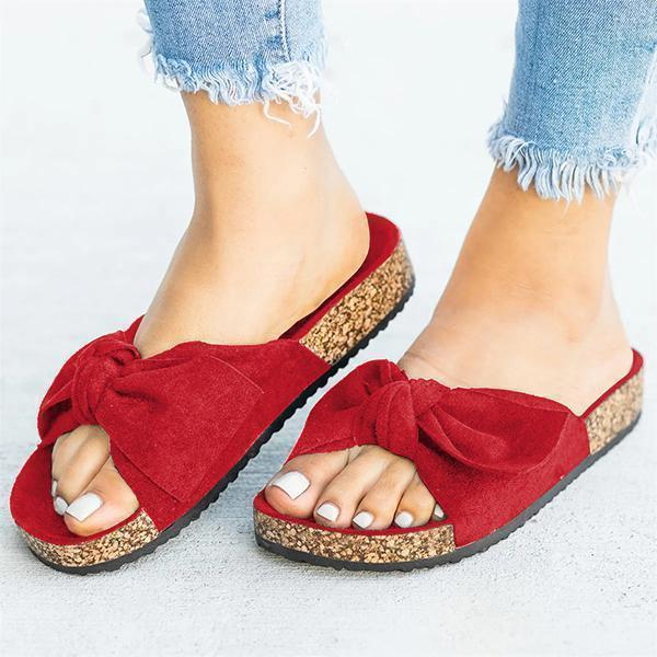 kovogue Cute Bowknot Platform Flat Slippers