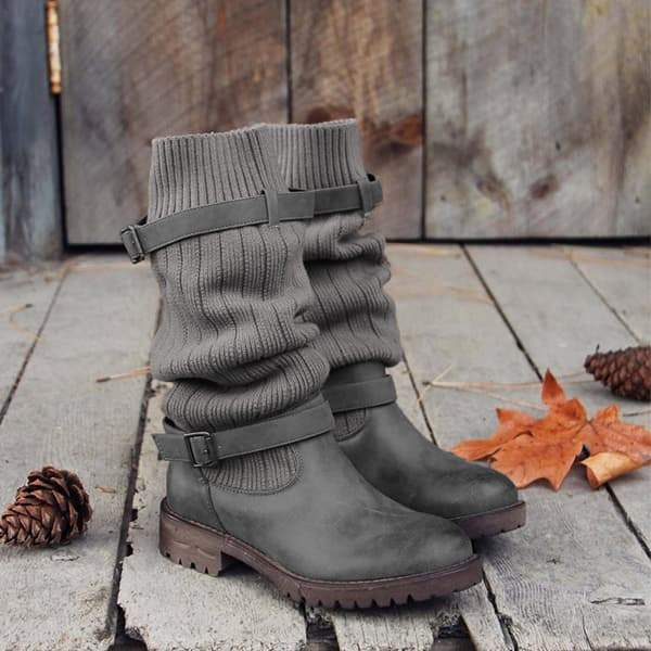 kovogue Cabin Sweater Paneled Boots