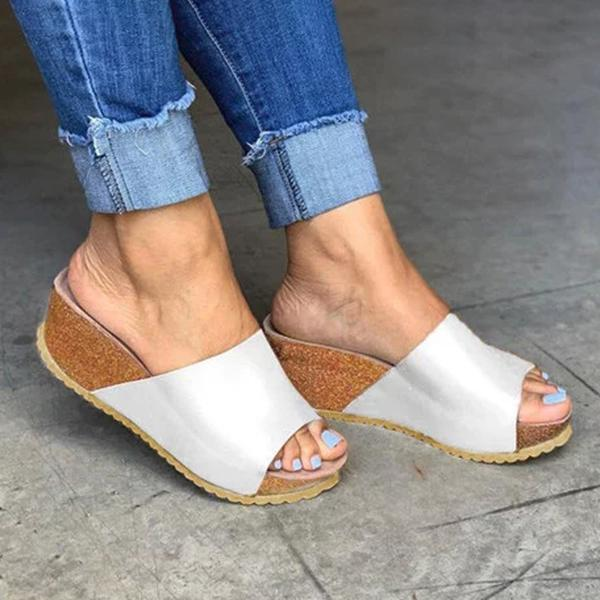kovogue Fashion Style Peep Toe Slip-On Wedges Sandals