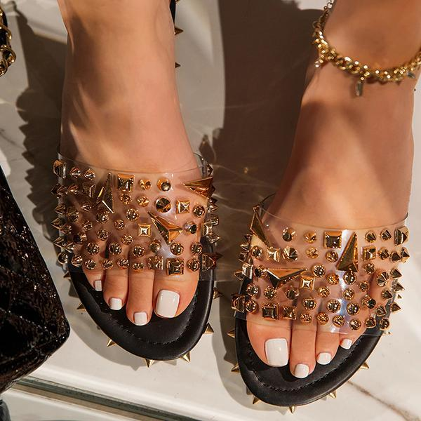 kovogue Multi-Sized Studs Clear Strap Slippers