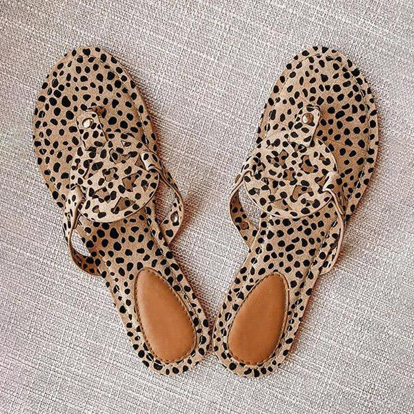 kovogue Leopard Printed Hollow Out Beach Slippers