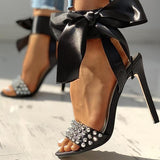 kovogue Studded Bowknot Design Thin Heels
