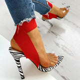 kovogue Transparent Strap Zebra Thin Heels