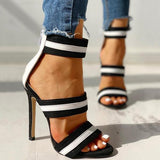 kovogue Stripes Open Toe Thin Heels
