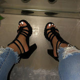 kovogue Platform Open Toe Heels